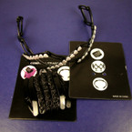 Black Compact Expandable Headband w/Heart Bling Stones .25 EACH