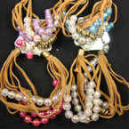 Multi Strand Suede Look Bracelet w/ AB Finish Colored Beads .54 ea