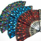 """9"""" Black Hand Fan w/ Sequin Flower Pattern 12 per pack  .58 EA"""
