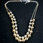 "18"" DBL Line Gold & Silver Heavy Bead & Ball Chain Necklace sold by pc ON SALE"