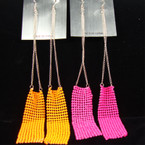 "7"" Silver Chain Earring w/ Neon Mesh Drop .33 PER PAIR"