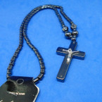 "18"" Hematite Necklace w/ Cross Pendant w/ Jesus  .60 each"