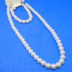 "16"" Glass Pearl Neck Set w/ Bracelet All White .54 PER SET"