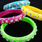 Colorful Bangle Bracelet w/ Clear Acrylic Stones .25 EACH