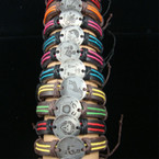 Colorful Cord Teen Leather Bracelet w/ Rd. Metal Plaque w/ Zodiacs