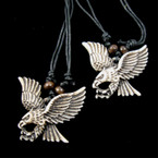 "20"" DBL Black Leather Cord Necklace w/ 2"" Flying Eagle Pendant  .54 ea"