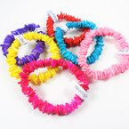 Asst Color Chipped Puka Shell Bracelets 12 per pack .80 ea