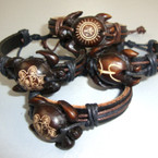 Teen Leather Bracelet w/ Mixed Style Wood Turtle .54