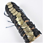 Teen Leather Bracelet Black w/ Gold Zodiac Signs .54 ea