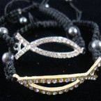 Black Braided Cord Bracelet w/ Crystal Stone Cast Gold/Sil Jesus Fish .25 ea