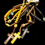 Wood Beaded & Crochet Rope Rosary w/ Cross w/ Jesus Browns/Blk .54 ea