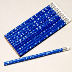"7.5"" Blue Snowflake Pencils sold by 12 per pk .12ea"