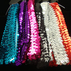 "2 Pack 1"" Wide Sequin Stretch Headwraps   6 Asst Colors"