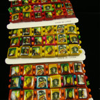 3 Pk Asst Bright Color Rasta Theme Stretch Wood Bracelets - 12-3 pks per pk