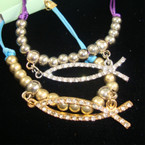 Asst Color DBL Cord Bracelet w/ Gold/Silver Beads & Crystal Stone JESUS Fish