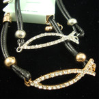 DBL Leather Cord Bracelet w/ Gold/Silver Crystal Stone JESUS Fish .33 ea
