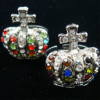 Gold Cross & Crown Crystal Stone Fashion Ring  12 per bx .33 each