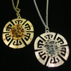 "24"" Gold & Silver Chain Necklace w/ 2.5"" Oval; Pendant w/ Ctones & Animal Print"