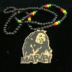 "30"" Black & Rasta Color Wood Bead Necklace w/ 3"" Wood Pendant  .56 ea"