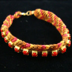 Multi Color Wooven Fashion Bracelet w/ Red Stones 12 per pk .45 ea