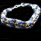 Multi Color Blues Wooven Fashion Bracelet w/ Black Stones 12 per pk .45 ea