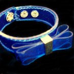 Dark Blue Hard Plaitic Wet Look Bracelet w/ Bow .40 ea