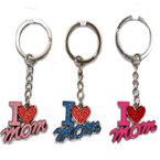 "1.5"" Metal I Love Mom Glitter Keychain Asst Colors  .60 each"