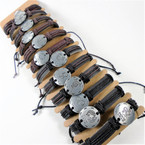 Teen Leather Brown/Blk Bracelet w/ Rd. Silver Zodiacs .54 ea