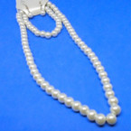 "Ivory Color 16"" Glass Pearl Necklace & Bracelet Set .56 ea set"