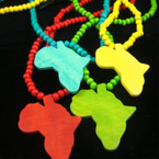"30"" Wood Bead Necklace w/ Africa Map Pendant Asst Brights .54 ea"