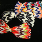 "Fashion Headband w/ 5"" Asst Multi Color Chevron Print Bow"