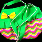 "Trendy Chevron Look 7"" X 9"" Handbag w/ Strap Mixed Colors Only $ 2.00 ea"