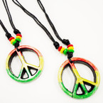 DBL Leather Cord Necklace w/ Rasta Color Peace Sign Pendant .54 each