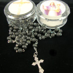 "36"" All Black Scented Rosary w/ Silver Cross w/ Jesus in Keepstake Bx .50 ea"