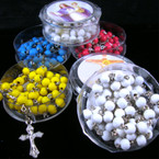 "36"" Mix Colors Scented Rosary w/ Silver Cross w/ Jesus in Keepstake Bx .54 ea"