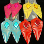 "3"" Patina Look Triangle Earring w/ Colored Stone .50 ea"