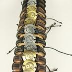 Teen Leather Bracelet w/ Rd. Gold/Silver Ying Yang .54 ea