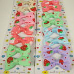 "8 Pack 2"" Strawberry Pattern Print Bow on Gator Clip Asst Pastel Colors"