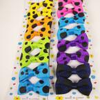 "8 Pack 2"" Black Poka Dot Print Bow on Gator Clip Asst Bright Colors"