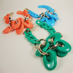 Asst Color Fashionable Link Bracelet w/ Gold Links .25 ea