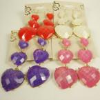 Triple Heart Bubble Stone Fashion Earring w/ Hint of Glitter .45 ea