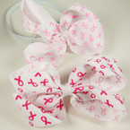 "5"" Pink Ribbon Print Bow on White Stretch Headband 2 colors REDUCED .42 ea"
