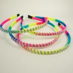 Rainbow Cord Wrapped Fashion Headband w/ DBL Line Crystals .54 ea