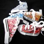 """3"""" Fancy Sneaker Keychain Glitter Heart Pattern .62 ea"""