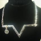 Fashionable Gold/Silver Chain Necklace w/ V Design & Love Charm .56 ea