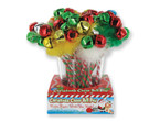 "9"" Red & Green Holiday Pen w/ 3 Jumbo Jingle Bells 24 per unit .90 ea"