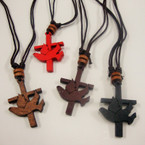 DBL Leather Cord Necklace w/ Wood Cross & Carved Dove .25 ea