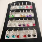 Silver Euro Wire Earring w/ Rhinestone & Lg. Crystal Stone 12 pair unit .54 ea