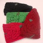 """ON SALE 4"""" Wide Flower w/ Leaf Winter Knit Headwrap 7 pc pack $ 1.00 ea"""