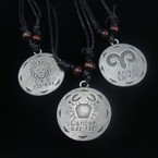 DBL Black Leather Cord Necklace w/ Rd. Zodiac Silver Pendants .54 ea